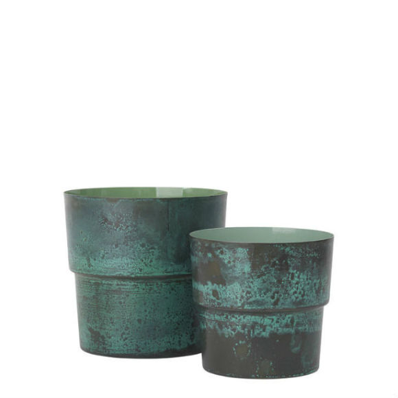 Pair of Antique Flowerpots | Green