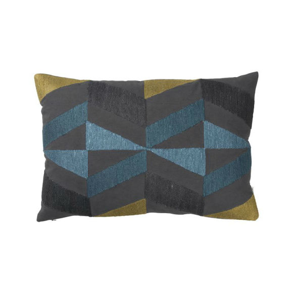 Boheme Embroidered Cushion | Petrol