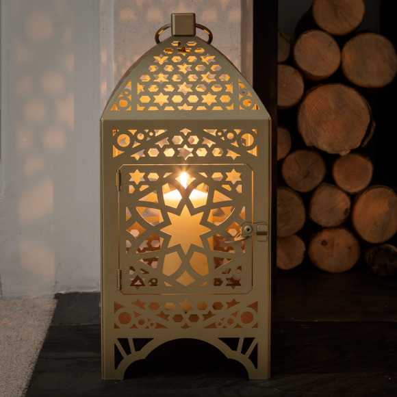 Gold Moroccan Lantern Large Square, Moroccan Outdoor Lamps Uk