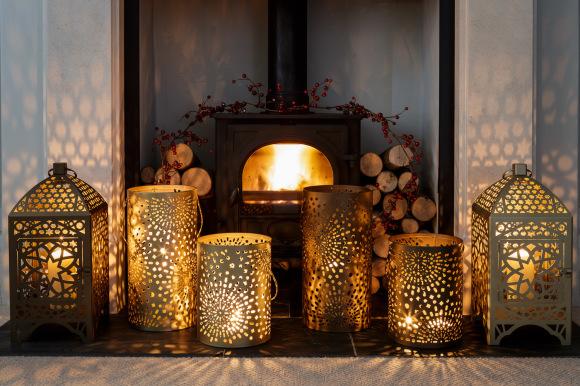 Large Gold Moroccan Lantern Nisi Living