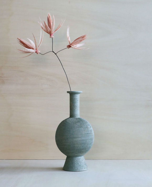 Romeo Ceramic Vase + Faux Flowers | Assorted Colours