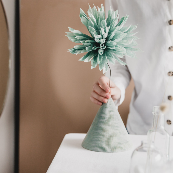 Vetta Ceramic Vase + Faux Flower | Assorted Colours