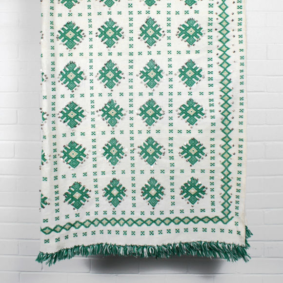 Vintage Moroccan Wedding Blanket Green Nisi Living