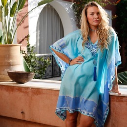 Assia Blue Silk Kaftan