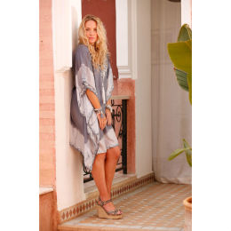 Assia Grey Silk Kaftan