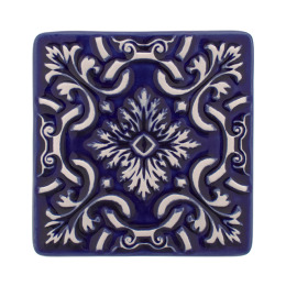 Atlantica Tile Coaster | set of 2 | cobalt blue
