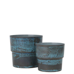 Pair of Antique Flowerpots | Blue