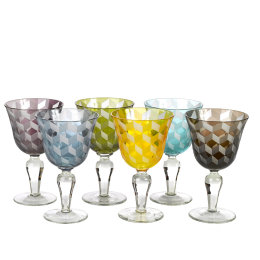 Block Wine Glasses | Multicoloured | Set of 6