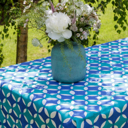 Moroccan Peacock Blue Tablecloth by Georgia Bosson