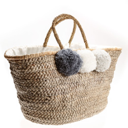 Natural Pom Pom Bag