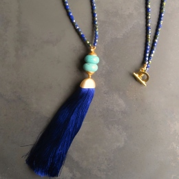 Oceana Cobalt Tassel Necklace