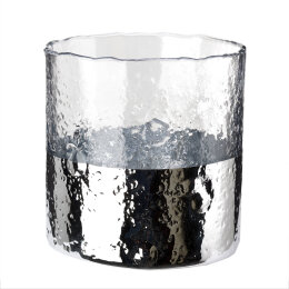 Ripple Dip Hurricane Candle Holder | Silver