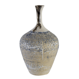 Textured Bottle Vase with Platinum Lustre