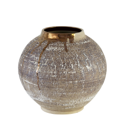 Large Textured Moon Jar with Copper Lustre