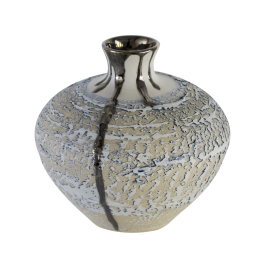 Textured Vase with Platinum Lustre