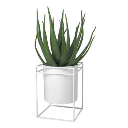 White Metal Planter | Wide