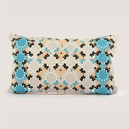 Moroccan Cushion | Zelliges Blue & Nude