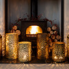 Large Gold Moroccan Candle Holder (35cm)